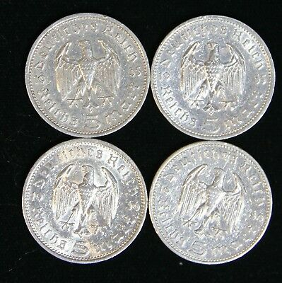 4 Coin Nazi 5 Reichsmark Silver Set 2x 1935-A & 2x 1936-A Cleaned