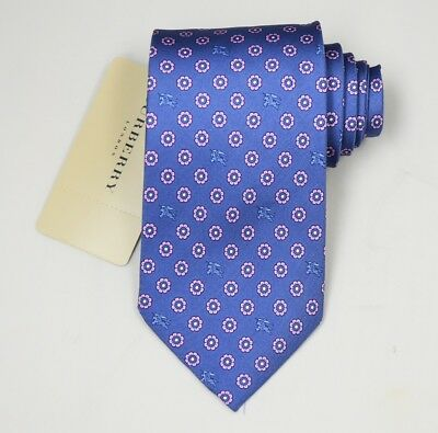 """NEW Burberry BLUE Floral Mans 100% Silk Tie Authentic Italy Made 3.5"""" 035071"""