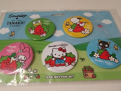 Hello kitty x Tanaka Strawberry 5 piece button set