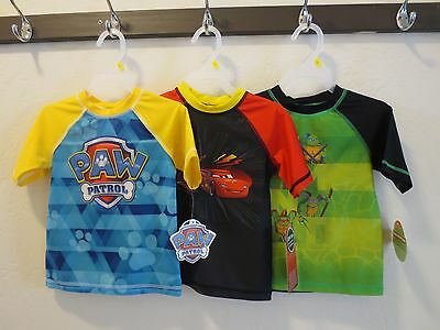 Paw Patrol Disney Pixar Cars Ninja Turtle Toddler Boy 3T Swimwear Rashguard Top