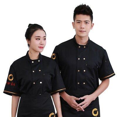 Chef Coat Short Sleeve Cook Jacket Restaurant Uniform Catering Working Clothes