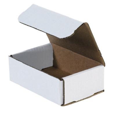 "Pick Quantity! 1-500 6x4x2"" White Corrugated Mailer Small Folding Box Light Ship"