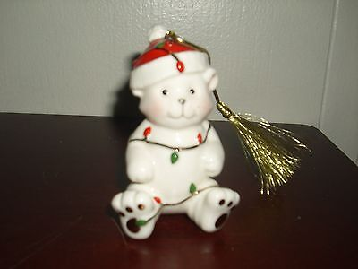 Lenox Porcelain Teddy Bear W/Christmas Lights Holiday Ornament