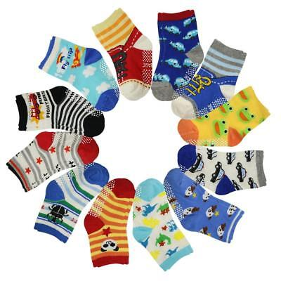 12 Pairs Assorted Toddler Socks Non Skid  Slip Stretch Knit Ankle Cotton Grip Wa