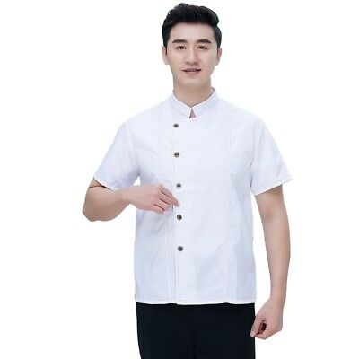 Chef Coat Denim Cook Jacket Short Sleeve Uniform Restaurant Hotel Bakery Clothes