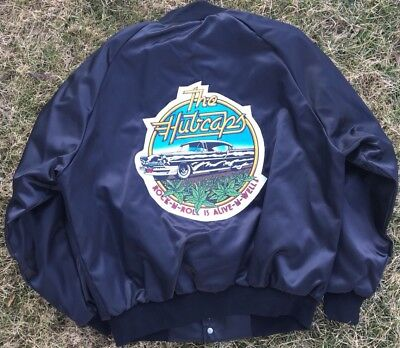 Vintage The Hubcaps Rock-n-Roll Is Alive-n-Well Satin Nylon Jacket Mens XL Rare