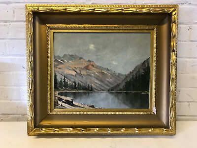 Antique Late 19th Early 20th Century Oil on Canvas Mountain Landscape Painting
