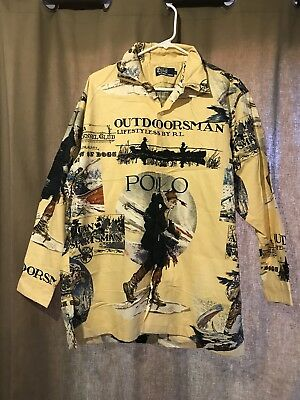 Polo Ralph Lauren Vintage Outdoorsman Big Graphic Shirt L Made In USA