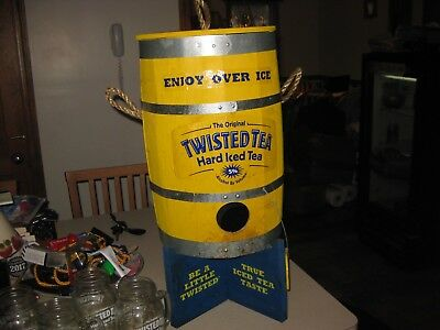 Twisted Tea Wooden Keg/Barrel Dispenser for 5L Refill Bags  + 5 mugs