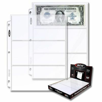 1 box of 100 BCW 3-Pocket Currency Pages Size 3.5 x 8 Paper Money Binder Holders