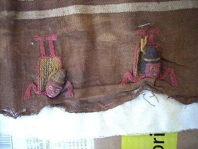 Chancay fabric with woven male and female sun-tanning examples (sunburned)? Peru