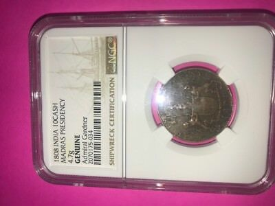 1808 India Genuine Admiral Gardner Shipwreck Coin Certified