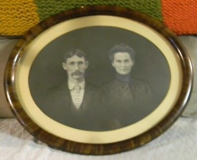 """Antique Tiger Wood Oval Glass Picture Frame w/Old Photo 18""""x15"""""""