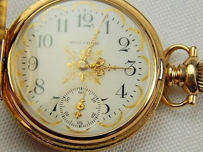 Nice 14K Yellow Gold Size 0 Ladies Hunting Case Pocket Watch Cool Dial 33.3 Gr