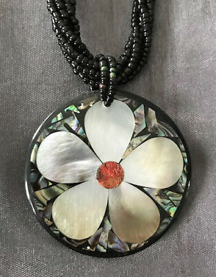 Abalone Shell Flower Pendant on Twisted Bead Chain - Hand Crafted - Great Gift!