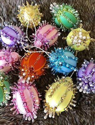 Handmade Unique Beaded 12 Pc Set Satin Christmas Or Easter Eggs Ornaments