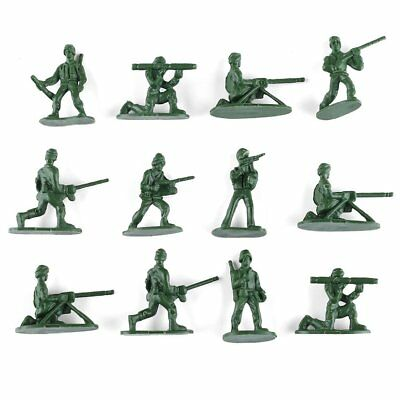 100Pcs Military Plastic Toy Soldiers Army Men Figures 12 Poses Gift with Flags