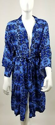 Pink blush Maternity Delivery Robe Sleep Blue Flowers NWT  XL