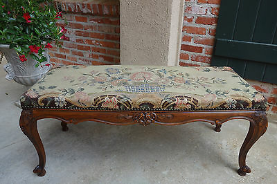 LARGE Antique French Carved Oak Louis XV  Bench Tapestry  COFFEE TABLE Ottoman