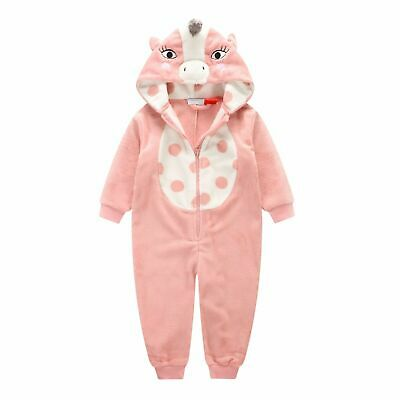 Girls 0-2 Winter Fleece One Piece Jumpsuit (816) Dusty Pink Unicorn