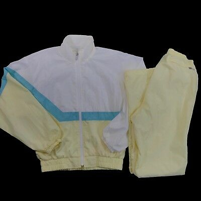 Vintage Descente Track Suit Womens Windbreaker and Pant Set Pastel Yellow Japan
