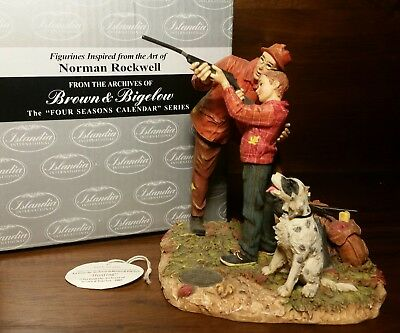 """Vintage Norman Rockwell Figurine """"Hunting"""" Four Seasons - Autumn - 1961 with Box"""