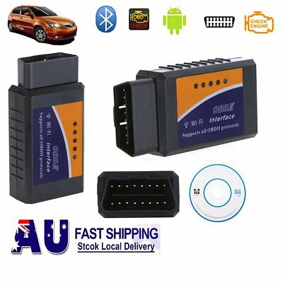 AU ELM327 WiFi Scanner OBD2 Car Engine Scan Tool Code Reader For iPhone iPad +CD