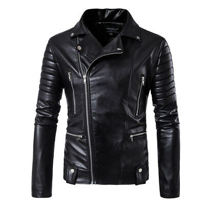 Men's Jacket Black Slim fit Motorcycle Biker Jacket