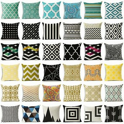 Bohemian & Moroccan Geometric Cotton Linen Pillow Case Square Cushion Cover