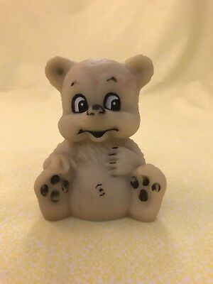 VINTAGE RUBBER Squeaky Toy Bear Fish Pink flaws 4.5\
