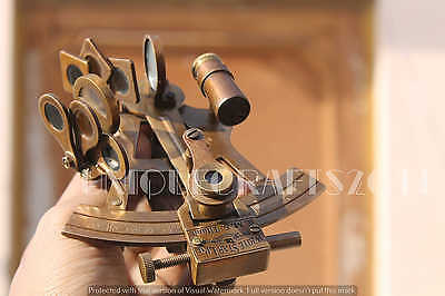 """Antique Nautical Solid Brass Sextant 4"""" Marine Reproductive Collectible Gift ."""