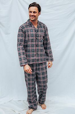 Mens PJS Size S-XXL Pyjamas Pelaco 100% Cotton Flannel Grey Red 6144305