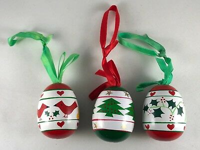 Set of Three Colorful Painted Wooden Christmas Ornament Eggs Cardinal Tree