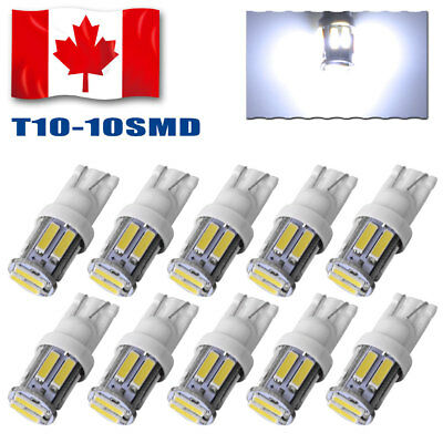 10x Cool White T10 Wedge 10-SMD 7020 LED Tail Signal light Interior Dome Bulbs