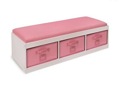 Girls Pink Storage Bench With Cushion Bins Large Kids Seat Room Decoration Toys