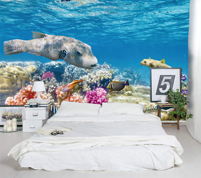 3D Fishes Self adhesive Undersea World Wallpaper Wall Paper Kids Room Home Mural