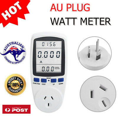 OZ AU Plug Power Energy Consumption Watt Meter Electricity Usage Monitor Socket