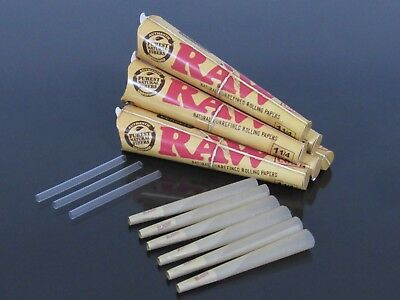 6 pack 36 cones RAW 1 1/4 Size AUTHENTIC Rolling Paper Pre Rolled Cones N318