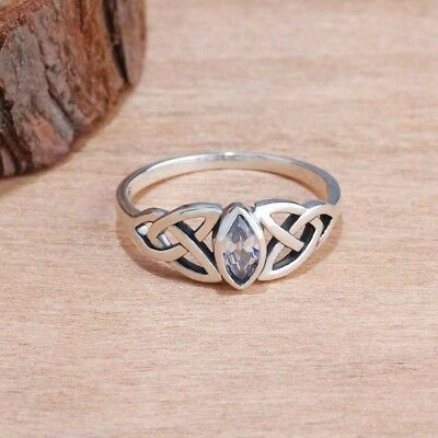 Vintage Lady 925 Sterling Silver Celtic Knot Marquise Sapphire Crystal Rings 5-9