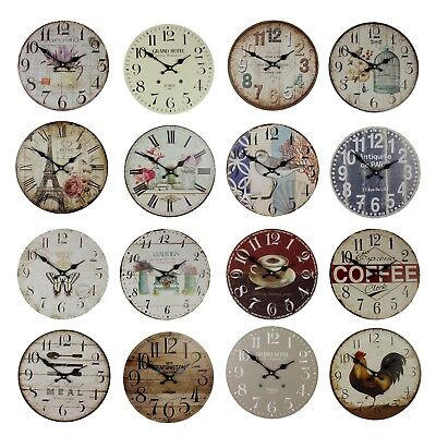 Large Vintage Wooden Wall Clock Rustic Kitchen Home Antique Style ii 30 cm