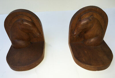 Art Deco Style Mid-Century Vintage Wooden Book Ends With Hand-Carved Horse Heads
