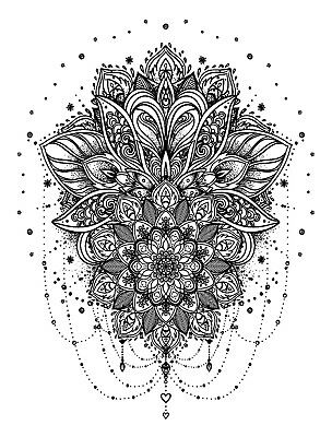 High Quality 13cm x 9.5cm Temporary Tattoo Mandala Flower Waterproof Body Art