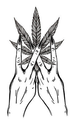 High Quality 9cm x 5.5cm Fake Tattoo Weed Leaf Hand Waterproof Temporary Art