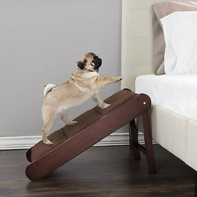 Pet Stairs Extra Large Steps Ladder Ramp Dog Cat Pup Wood Bed Couch Foldable NEW