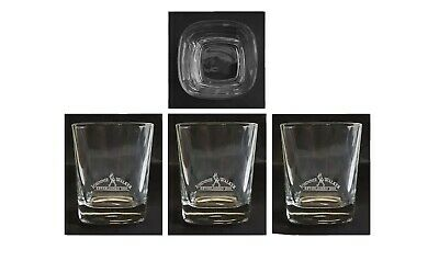 Johnnie Walker Scotch 4 x Etched Spirit Tumbler Glasses 280mL Scotland Man Cave