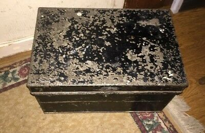 Antique industrial style steel deed box With Handle Display Prop