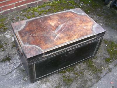 Fine Victorian leather chest. Coffee table.