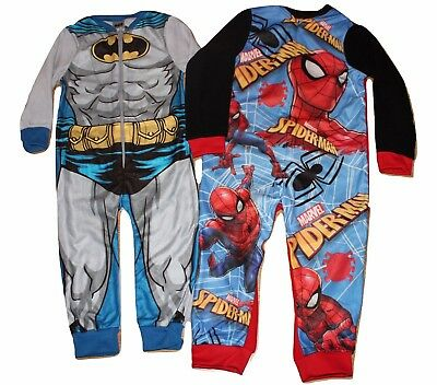 Boys Girls Onezee Character Batman Spiderman Fleece Kids Long Sleeve Pyjamas