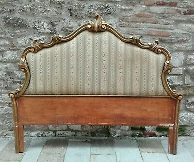 Antique Carved Ornate Giltwood  Florence Headboard Bed frame Rococo Italy 1900s