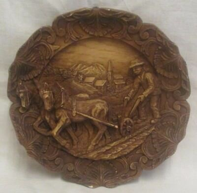 """9"""" Vintage Carved Resin Wood Effect Ploughing Scene French Wall Plaque"""